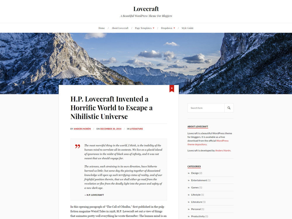 22 - 20 Free Minimalist WordPress Themes for Blogs, Portfolio Websites