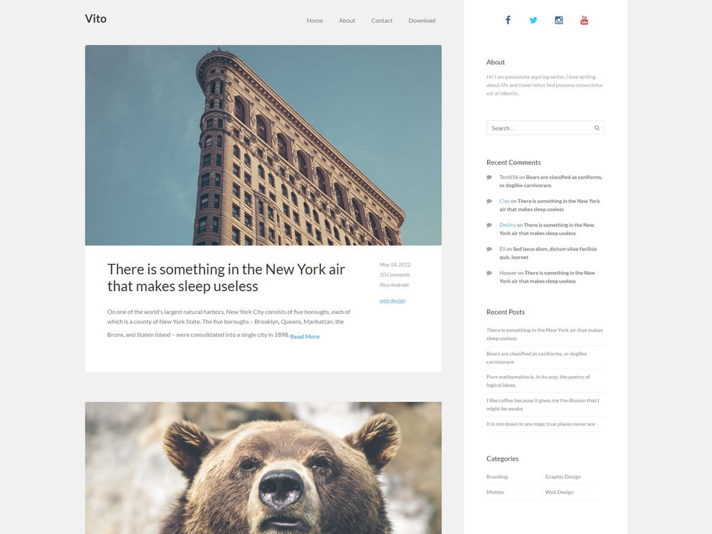 23 - 20 Free Minimalist WordPress Themes for Blogs, Portfolio Websites