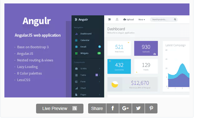 Angulr - 20+ BEST Free Bootstrap Admin Dashboard Themes [year]