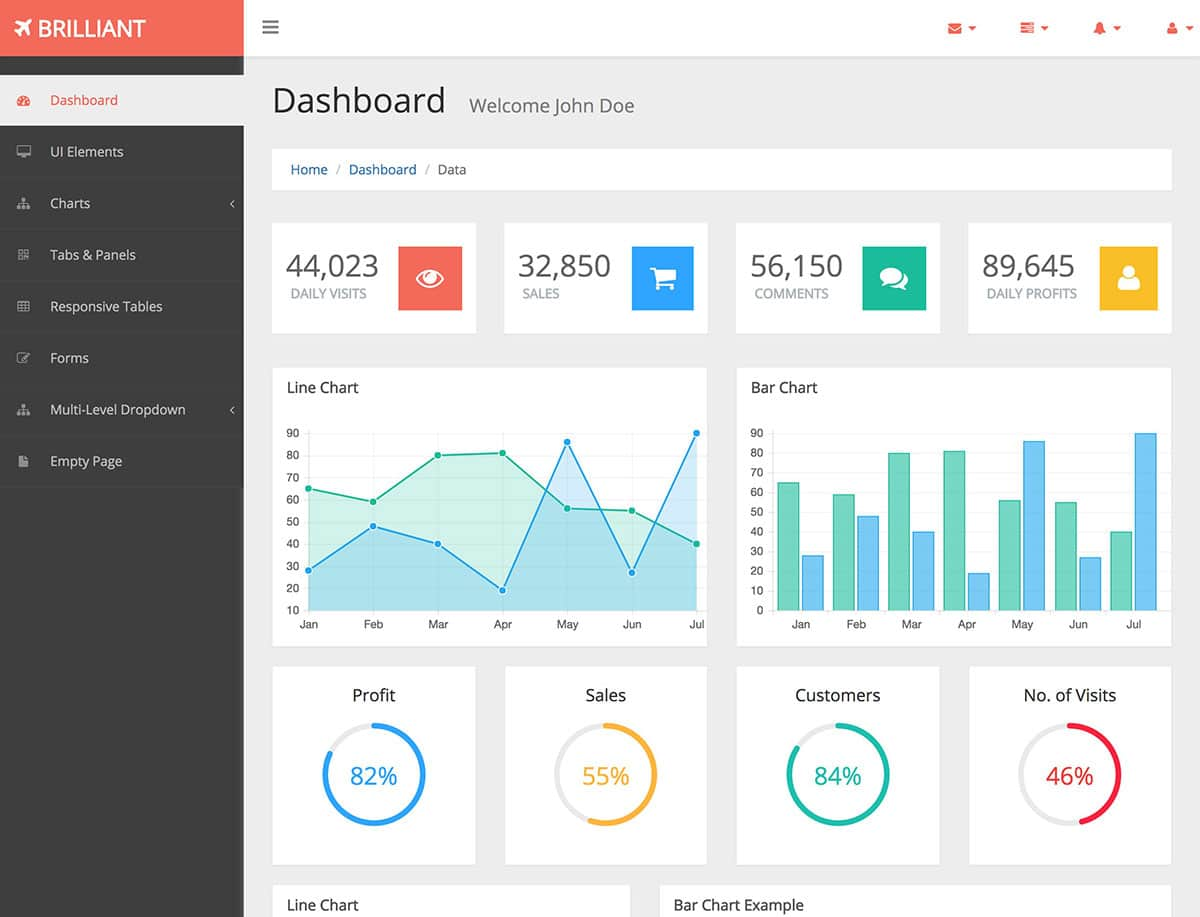 Brilliant-Free-Bootstrap-Admin-Template - 20+ Best Free Bootstrap Admin Templates 2019