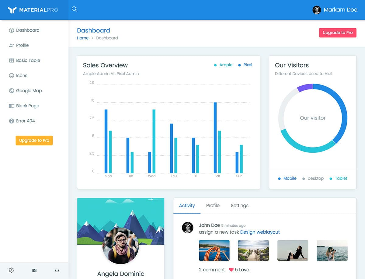 MaterialPro-Lite-Free-Material-Design-Admin-Template - 20+ Best Free Bootstrap Admin Templates 2019