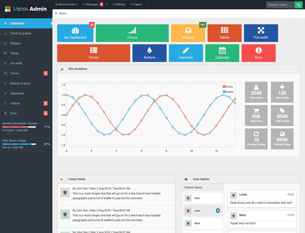 Matrix-Admin-Dashboard-Template-1 - 20+ BEST Free Bootstrap Admin Dashboard Themes [year]