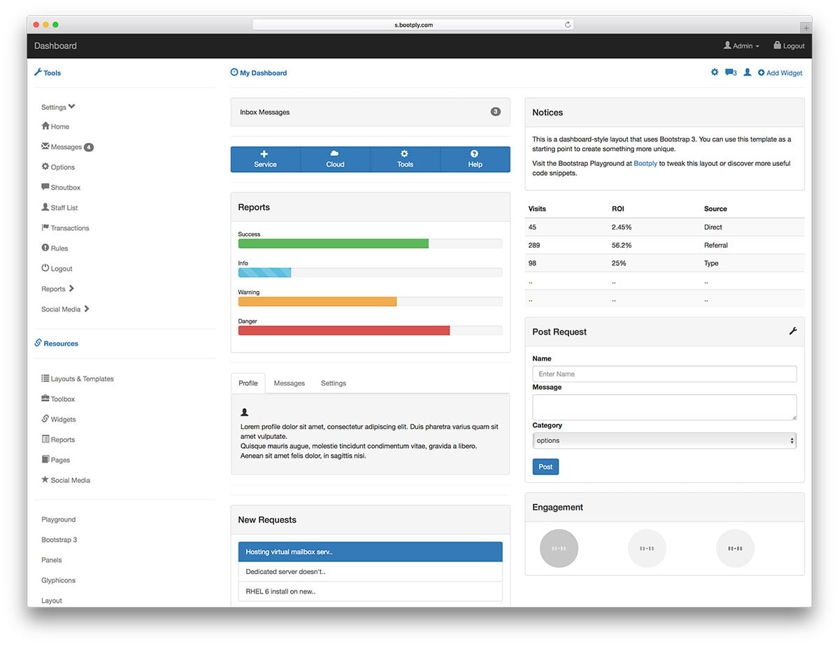bootply-simple-free-admin-dashboard - 20+ Free Bootstrap Admin Dashboard Themes 2018