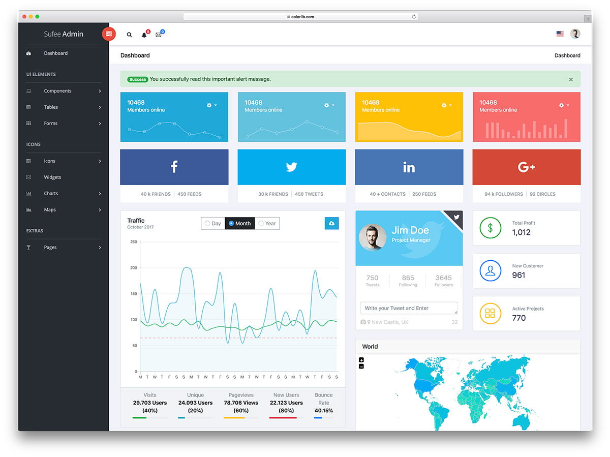 sufee-free-modern-admin-dashboard-template - 20+ Free Bootstrap Admin Dashboard Themes 2018