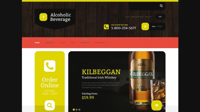 Alcoholic-Beverage-Store - 30+ Design & Photography Shopify Shopping Themes