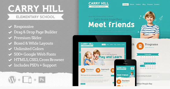 Carry-Hill-School-Responsive-Wordpress-Theme - 30+ Top Sales Education WordPress Themes [year]
