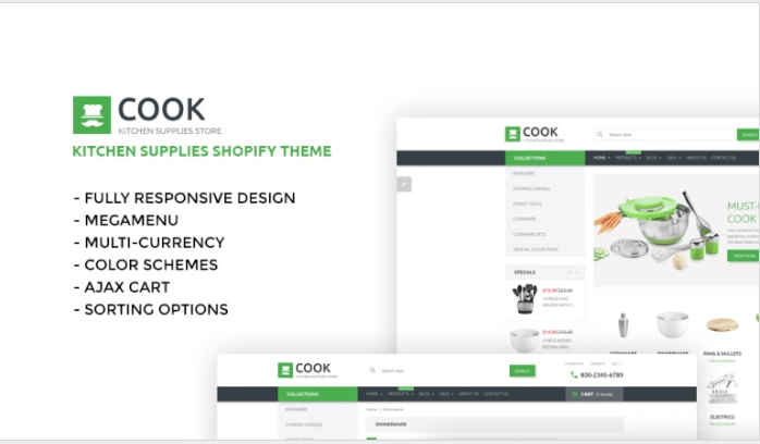 Cook-Shopify-Theme - 30+ Free & Paid Design & Photography Shopify Shopping Themes 2018