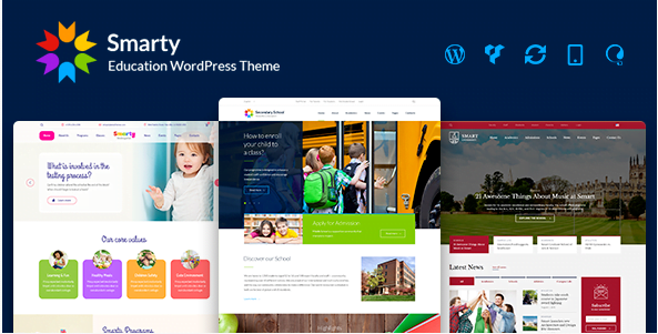Smarty-Kindergarten-School-High-school-College-University-WordPress-theme - 30+ Top Sales Education WordPress Themes [year]