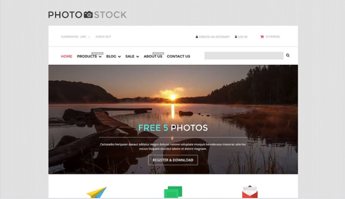 Stock-Photo-Responsive-Shopify-Theme - 30+ Free & Paid Design & Photography Shopify Shopping Themes 2018