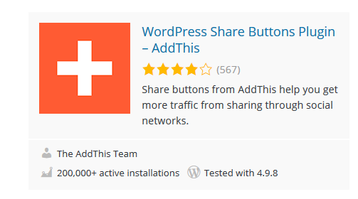 AddThis - 30 Fantastic Free WordPress Social Share Plugins
