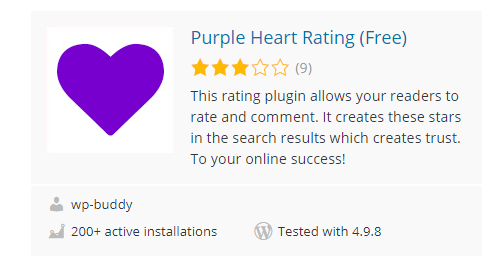 Purple-Heart-Rating-Free - Top 30 Free WordPress Rating Plugins for Your Website