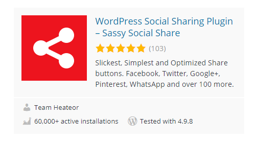 Sassy-Social-Share - 30 Fantastic Free WordPress Social Share Plugins