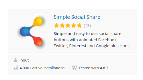 Simple-Social-Share - 30 Fantastic Free WordPress Social Share Plugins