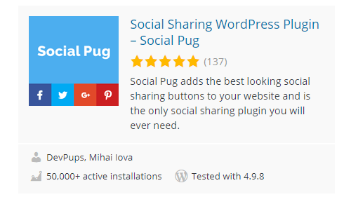 Social-Pug - 30 Fantastic Free WordPress Social Share Plugins