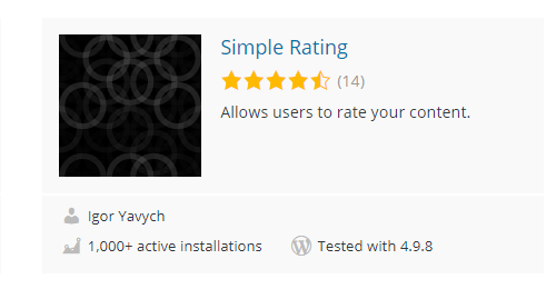simple-rating - Top 30 Free WordPress Rating Plugins for Your Website