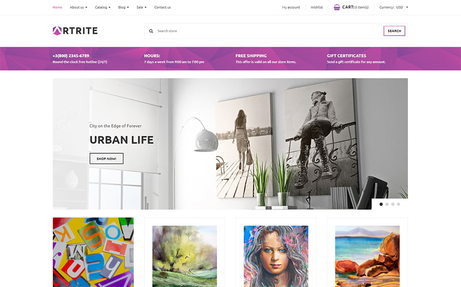 Artrite-1 - Best 10 Shopify Themes For Arts And Photography Websites