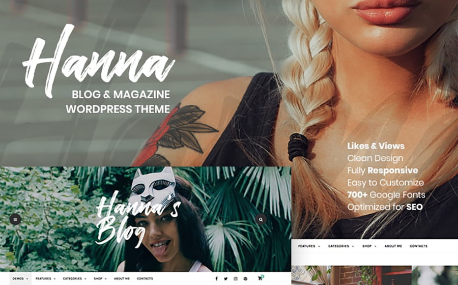 Hanna - 15 Blogging WordPress Themes to Start a New Blog