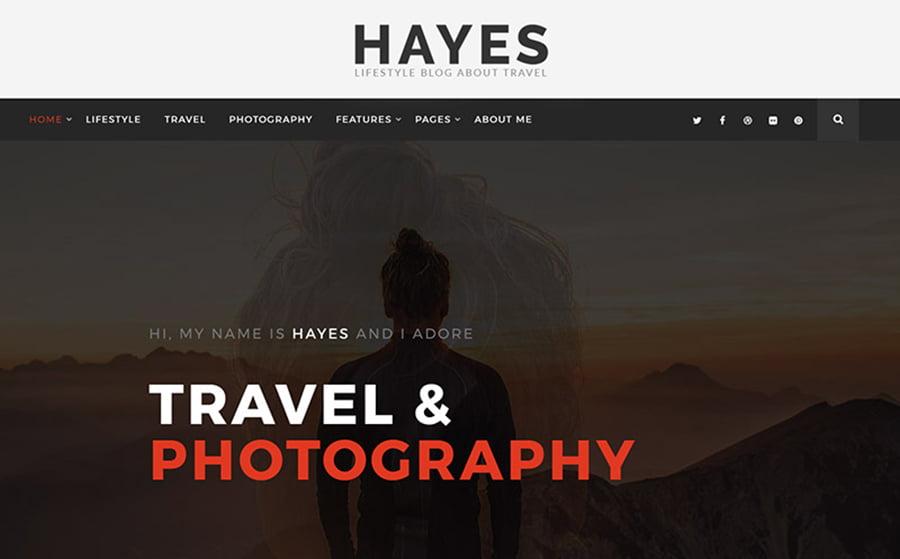 Hayes-Travel-Blog - 15 Blogging WordPress Themes to Start a New Blog [year]