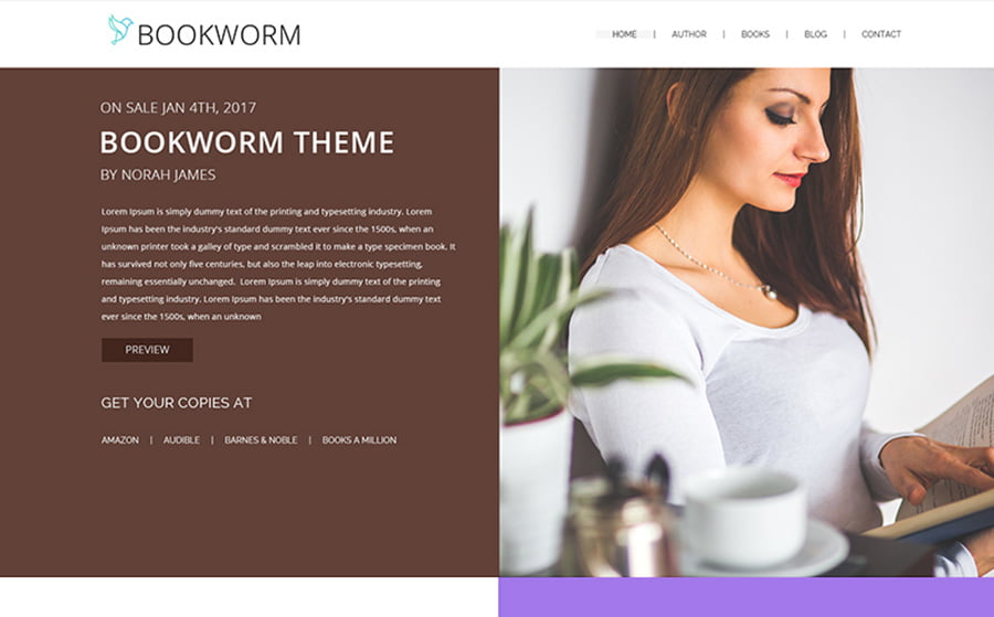 NF-Book-Worm - 15 Blogging WordPress Themes to Start a New Blog [year]