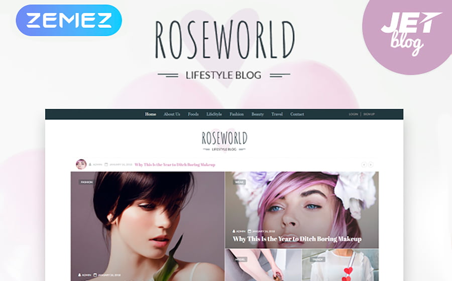 Roseworld - 15 Blogging WordPress Themes to Start a New Blog
