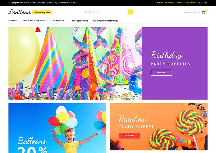 Party-Decorations-Responsive-Magento-Template - Bring Joy to Your Clients with 20 Inspiring Holiday & Gifts Templates [year]