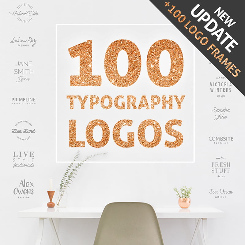100-Typography-Logos-100-Frames-Bundle - 10+ Must-Haves To Prepare Your Website For Valentine's Day