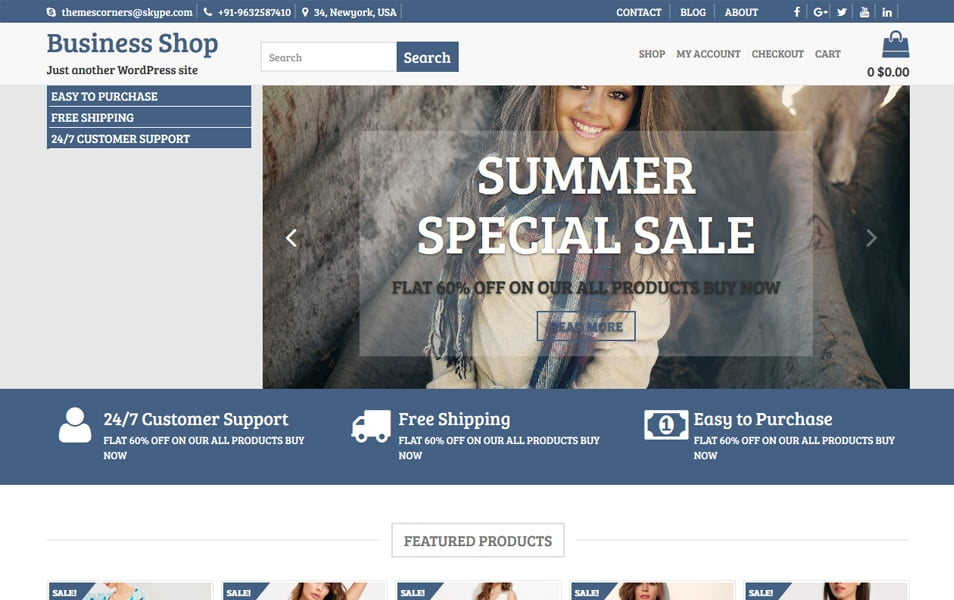 Business-Shop - 110+ Best Free ECommerce WordPress Themes 2019