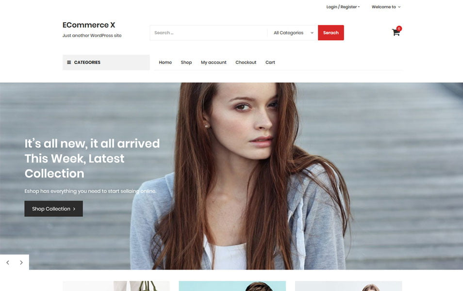 Ecommerce-X - 110+ Best Free ECommerce WordPress Themes 2019