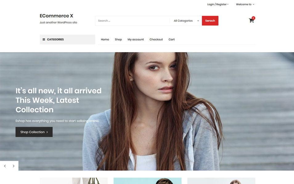 Ecommerce-X - 110+ Best Free ECommerce WordPress Themes [year]