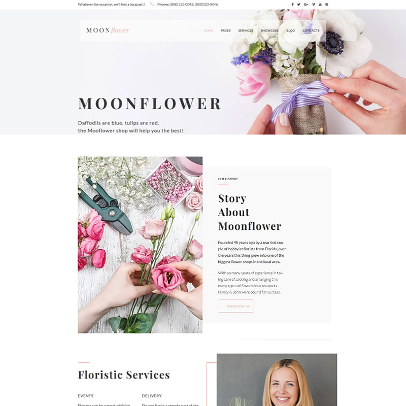 Moon-Flower-Flower-Shop-WordPress-Theme - 10+ Must-Haves To Prepare Your Website For Valentine's Day