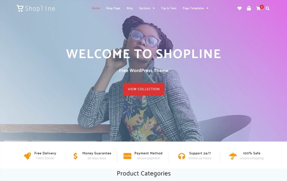 Shopline - 110+ Best Free ECommerce WordPress Themes 2019