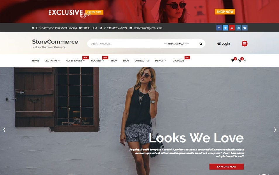 StoreCommerce - 110+ Best Free ECommerce WordPress Themes 2019