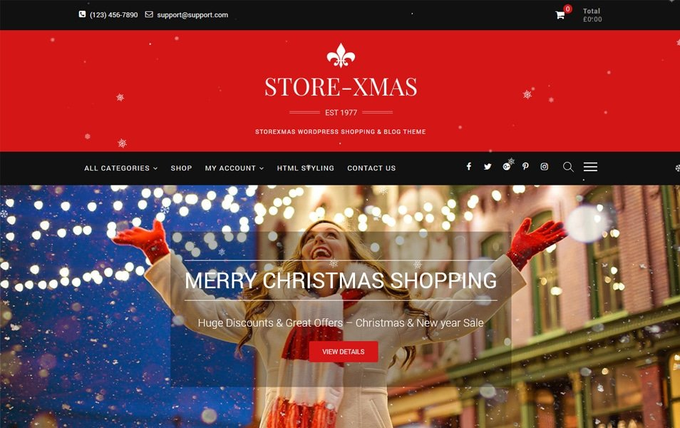 StoreXmas - 110+ Best Free ECommerce WordPress Themes 2019