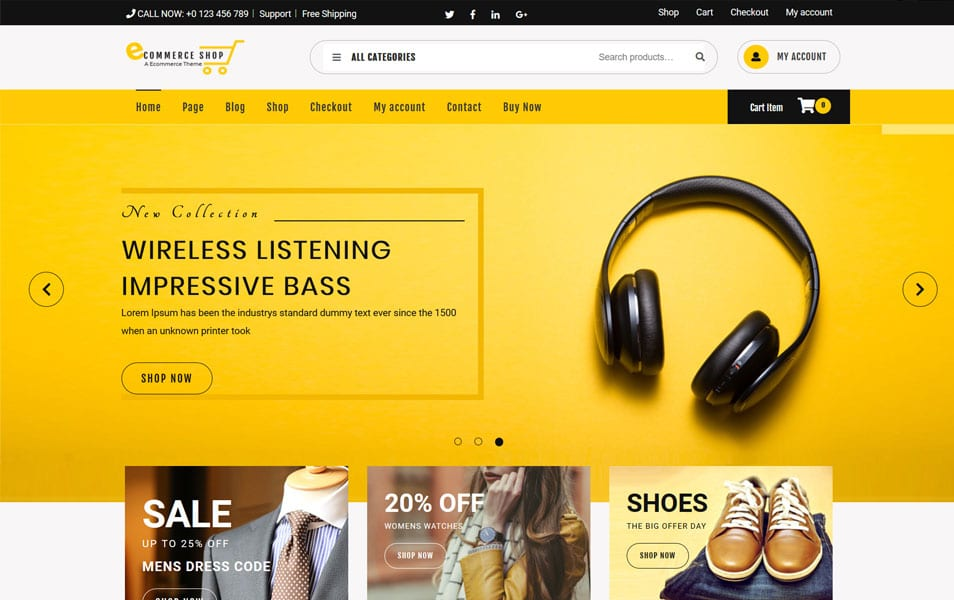 eCommerce-Shop-1 - 110+ Best Free ECommerce WordPress Themes [year]