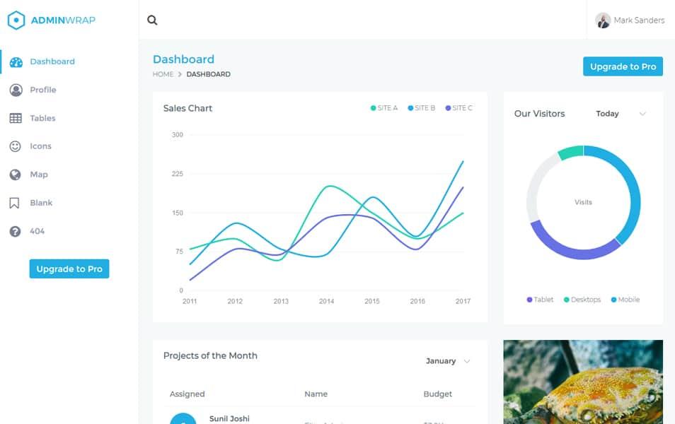 AdminWrap-Lite - 110+ Top Best Free Bootstrap Admin Templates