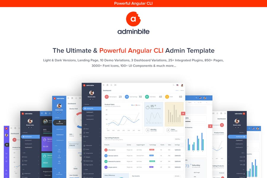 Adminbite - 110+ Top Best Free Bootstrap Admin Templates [year]