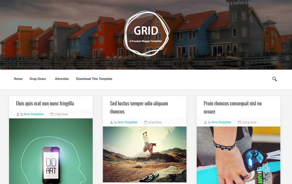 Grid-Responsive-Blogger-Template - 52+ Latest Free Gallery Style Blogger Templates 2019