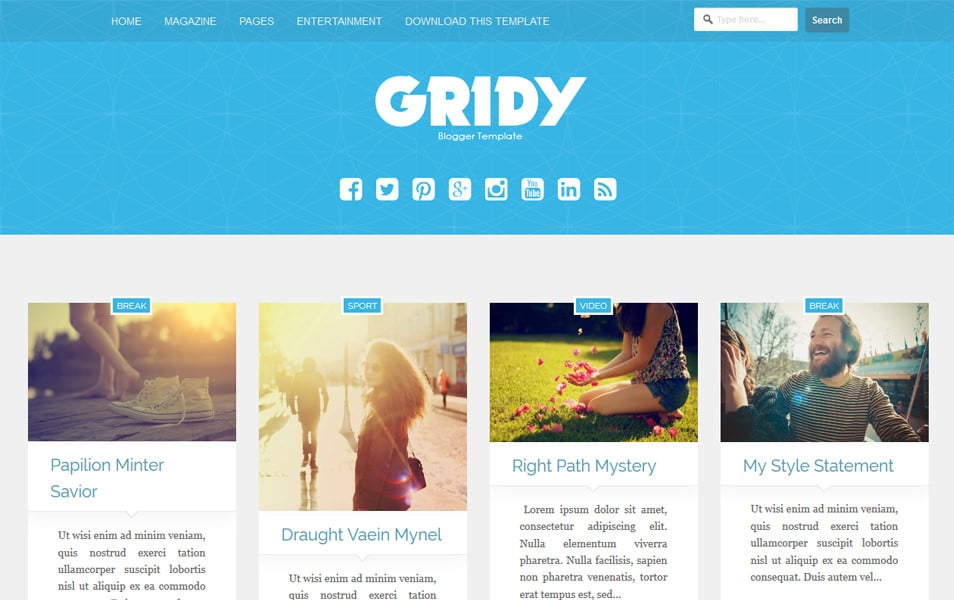 Gridy-Responsive-Blogger-Template - 60+ Blogger Latest Free Gallery Style Templates [year]