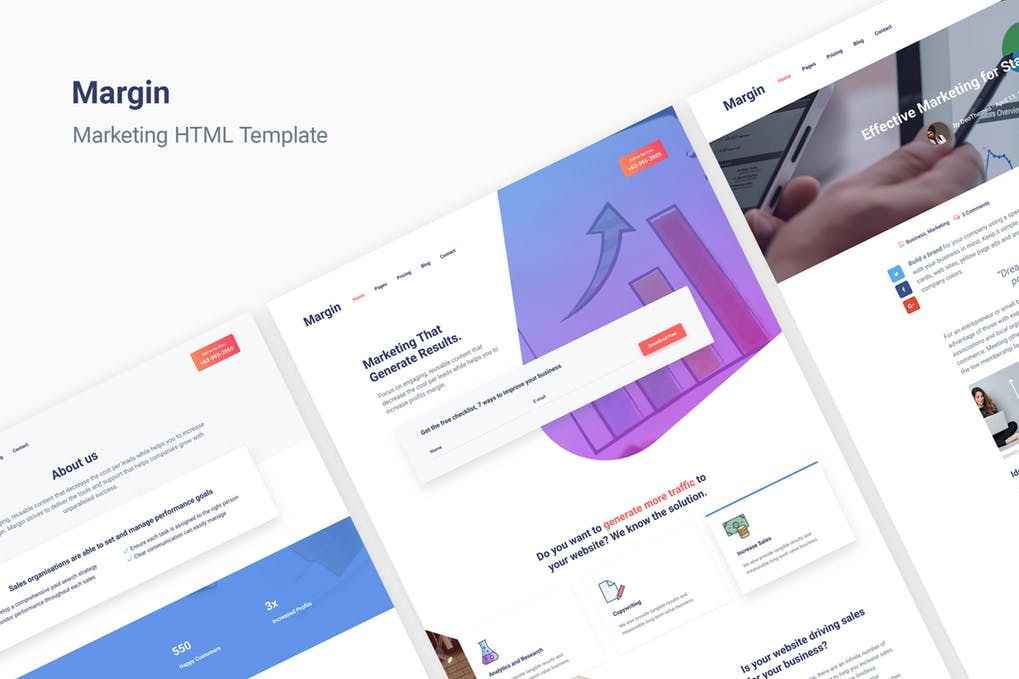 Margin - 52+ Latest Free Gallery Style Blogger Templates 2019