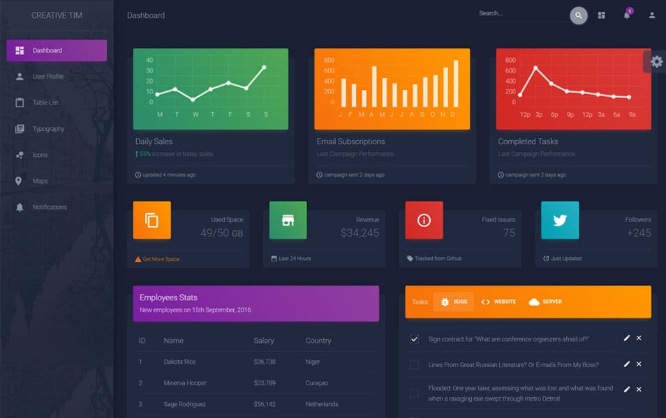 Material-Dashboard-Dark-Edition - 110+ Top Best Free Bootstrap Admin Templates [year]