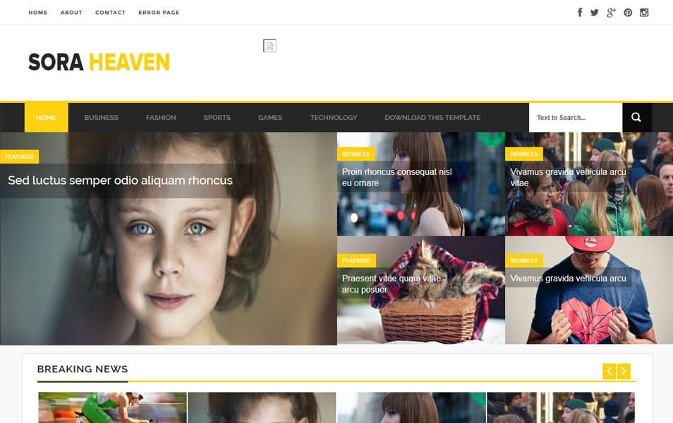 Sora-Heaven-Responsive-Blogger-Template - 52+ Latest Free Gallery Style Blogger Templates 2019
