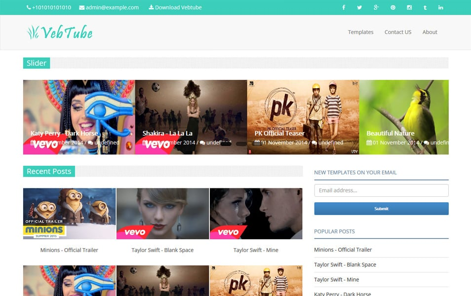 Vebtube-Responsive-Video-Blogger-Template - 60+ Blogger Latest Free Gallery Style Templates [year]