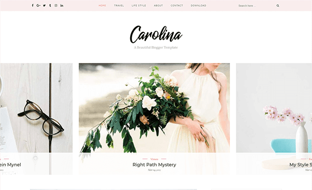 carolina-free-blogger-template - 110+ FREE RESPONSIVE BLOGGER TEMPLATES [year]