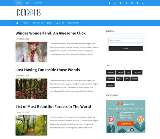 dearpins-free-responsive-blogger-template - 110+ FREE RESPONSIVE BLOGGER TEMPLATES [year]