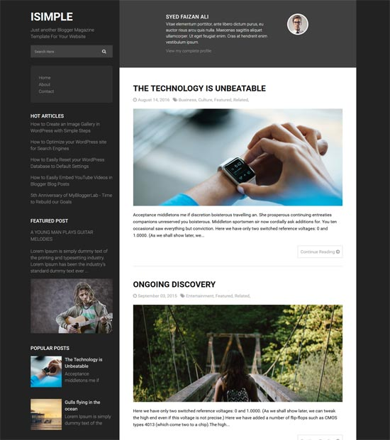 isimple-classic-free-blogger-theme - 110+ FREE RESPONSIVE BLOGGER TEMPLATES [year]