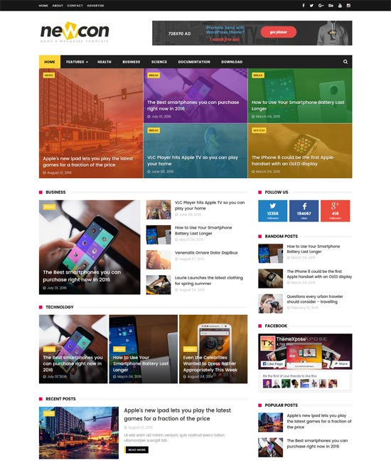 newcon-news-responsive-blogger-template - 110+ FREE RESPONSIVE BLOGGER TEMPLATES [year]