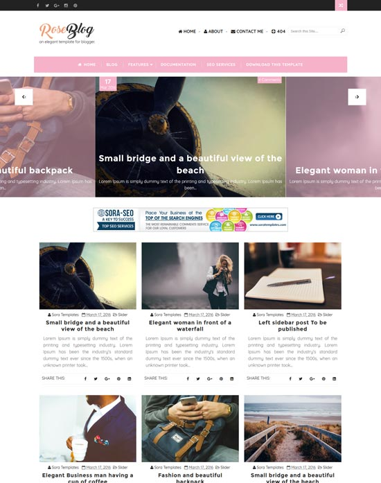 rose-blogger-template - 110+ FREE RESPONSIVE BLOGGER TEMPLATES [year]