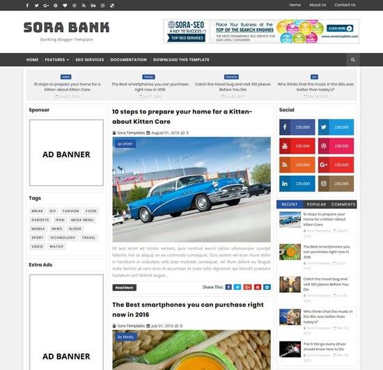 sora-bank-blogger-banking-theme - 110+ FREE RESPONSIVE BLOGGER TEMPLATES 2019