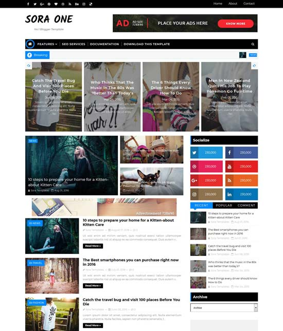 sora-one-blogger-template - 110+ FREE RESPONSIVE BLOGGER TEMPLATES [year]