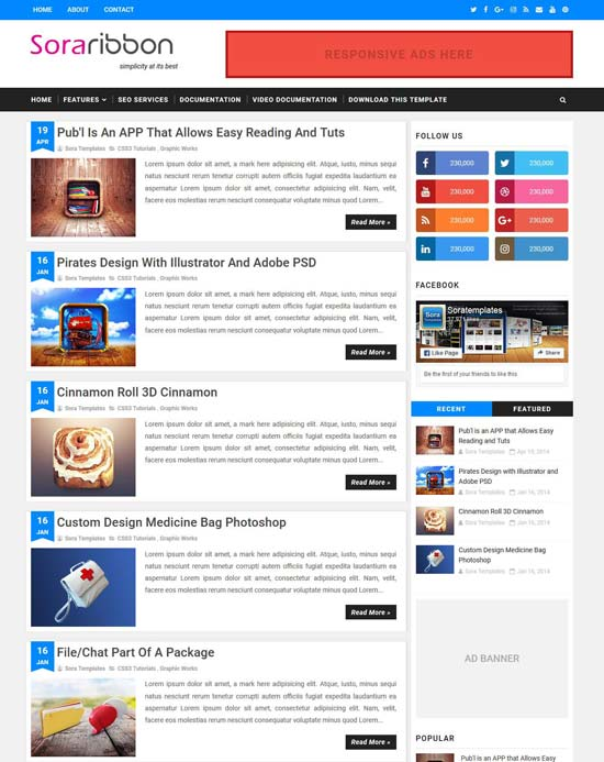 sora-ribbon-blogger-template - 110+ FREE RESPONSIVE BLOGGER TEMPLATES [year]